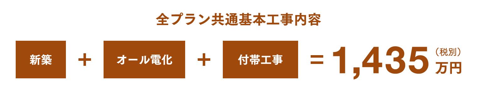 全プラン共通基本工事内容 新築 + オール電化 + 付帯工事 = 1,415万円(税別)
